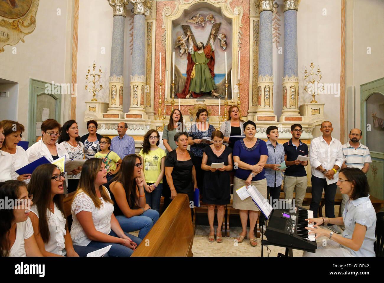 Mass in an Italian catholic church. Choir. Tricase. Italy ...