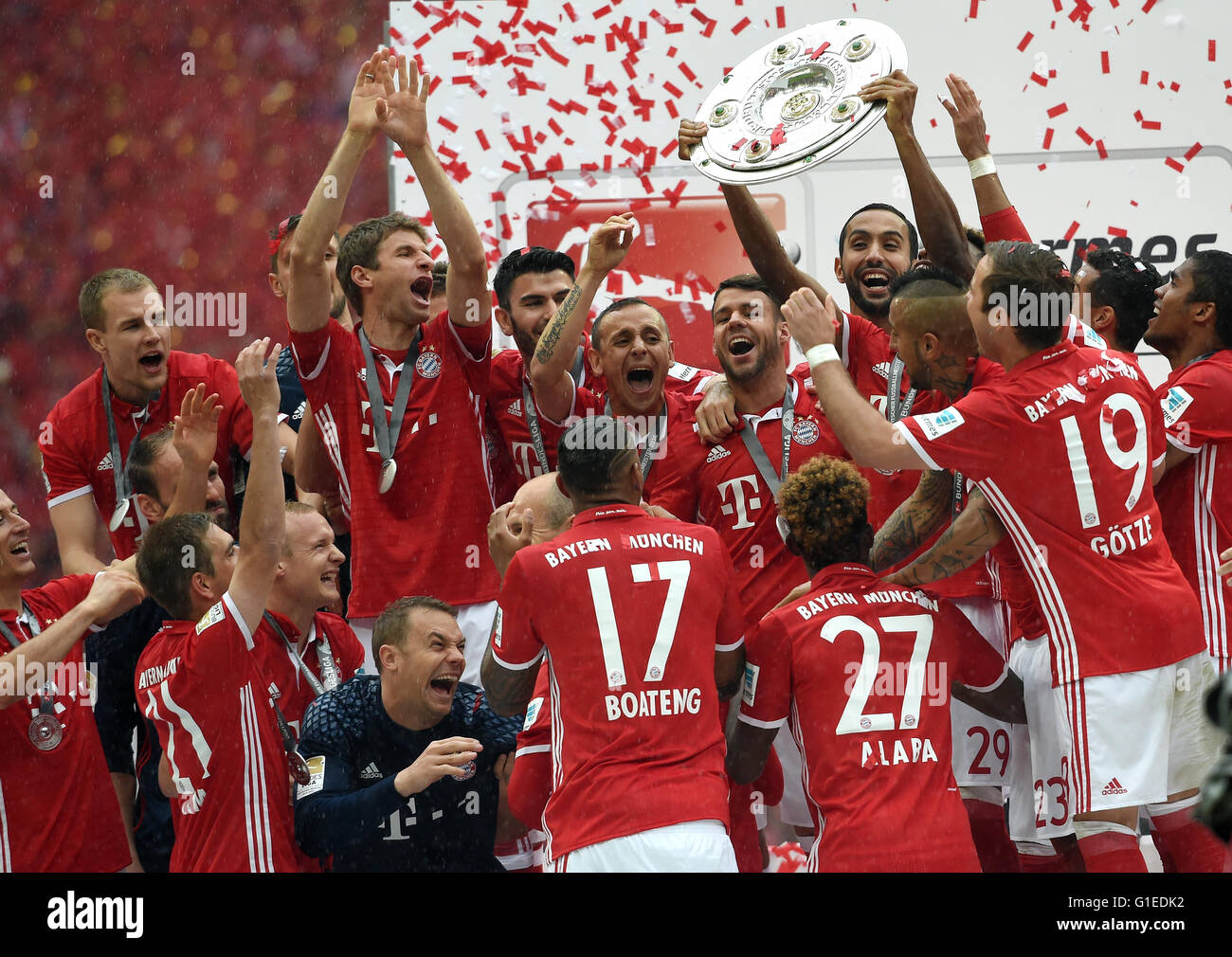 Munich, Germany. 14th May, 2016. Bayern's players ...