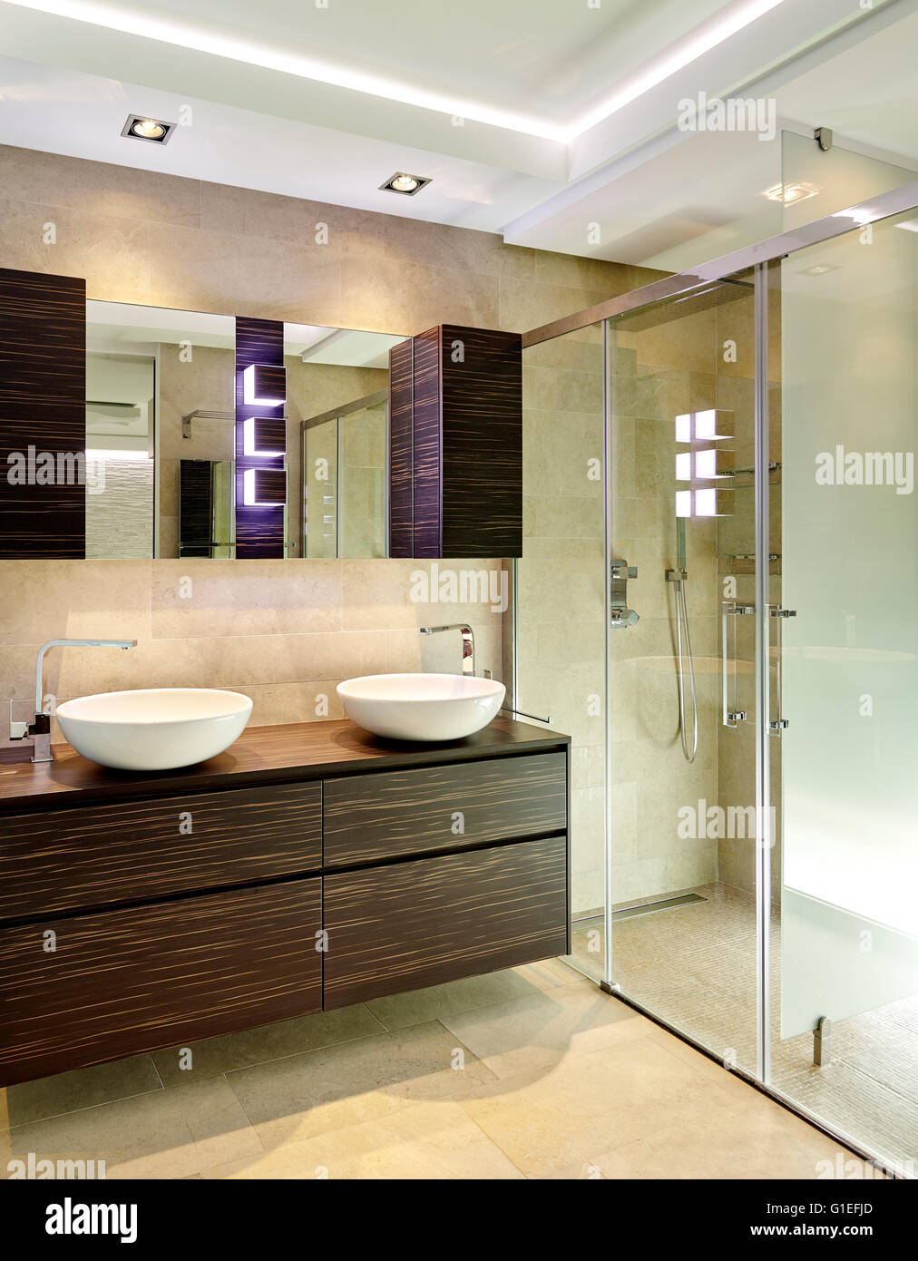 White house bathroom - Stock Photo White House L Ametlla Modern Bathroom With Shower Cubicle Double Sinks And Wood Cabinets