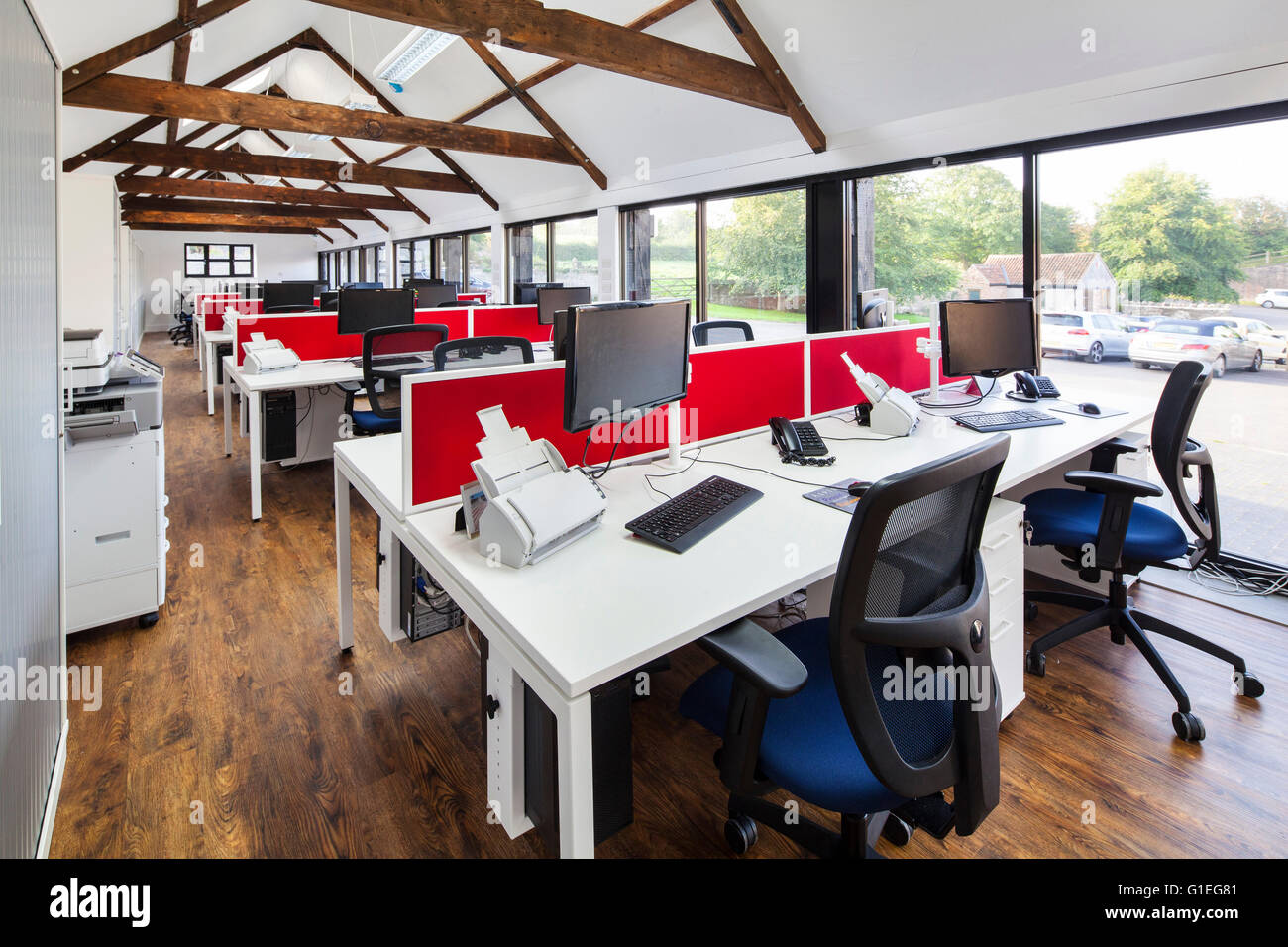 barn office furniture. barn conversion into office space furniture by oeg interiors rows of desks with computers rafters e