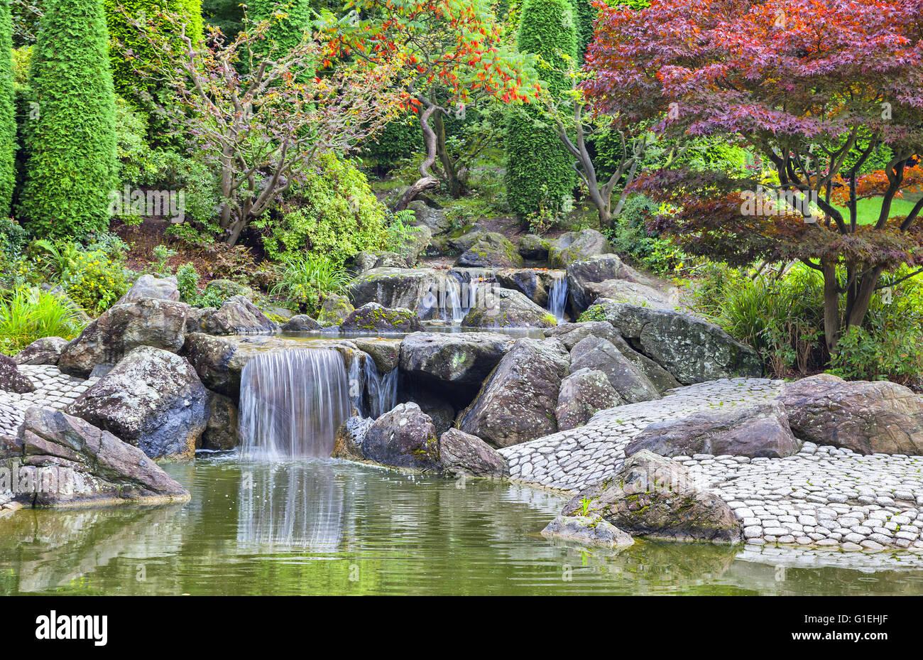 Cascade waterfall in Japanese garden in Bonn, Germany