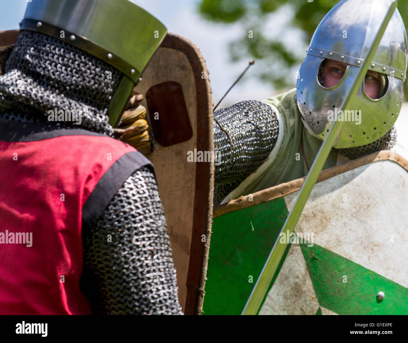 Stock photo the re enactment group historia normannis staged a 12th century medieval event with displays in coronation park ormskirk lancashire uk