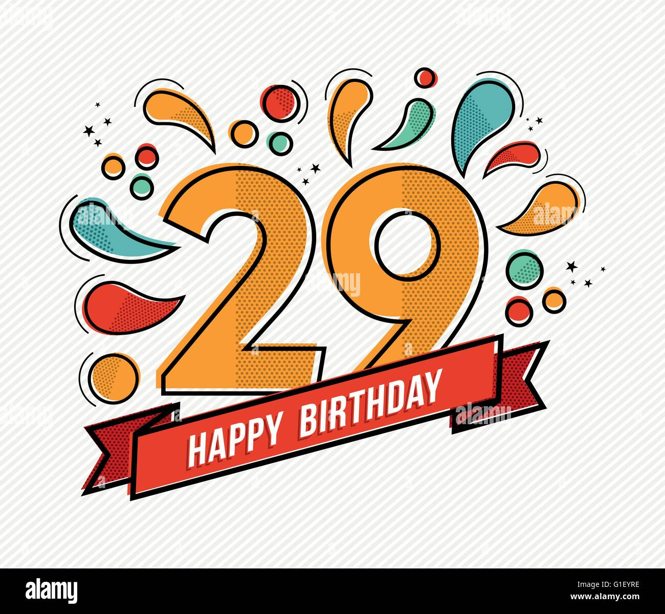 Happy birthday number 29 greeting card for twenty nine year in happy birthday number 29 greeting card for twenty nine year in modern flat line art with colorful geometric shapes bookmarktalkfo Images