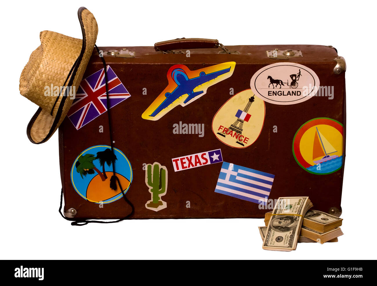 Vintage suitcase for travel with stickers of the countries visited ...