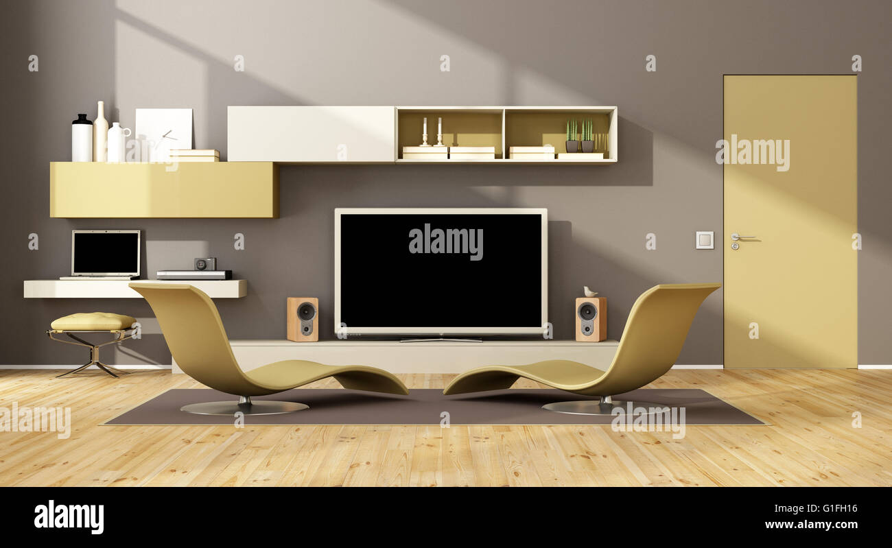 contemporary living room with two chaise lounge and wall unit with