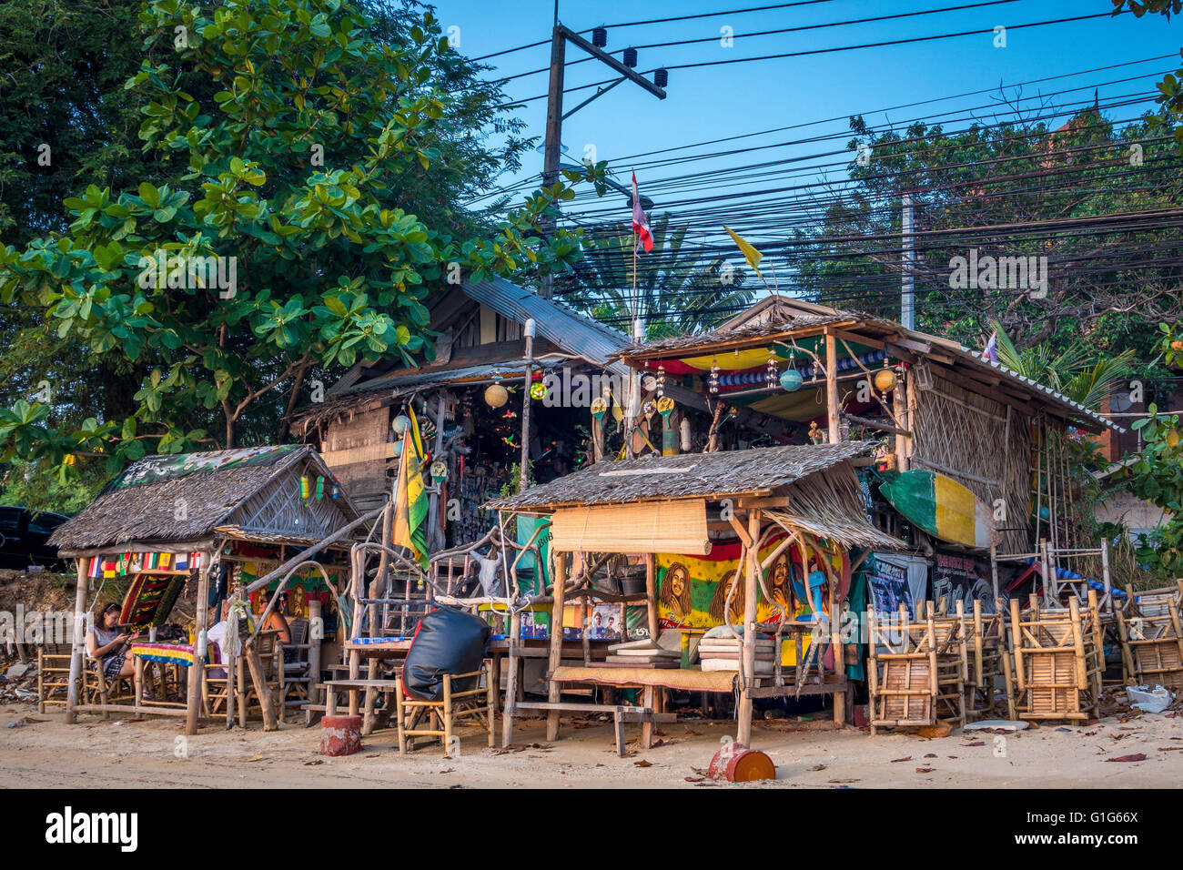 beach bar on the bophut beach koh samui thailand asia. Black Bedroom Furniture Sets. Home Design Ideas
