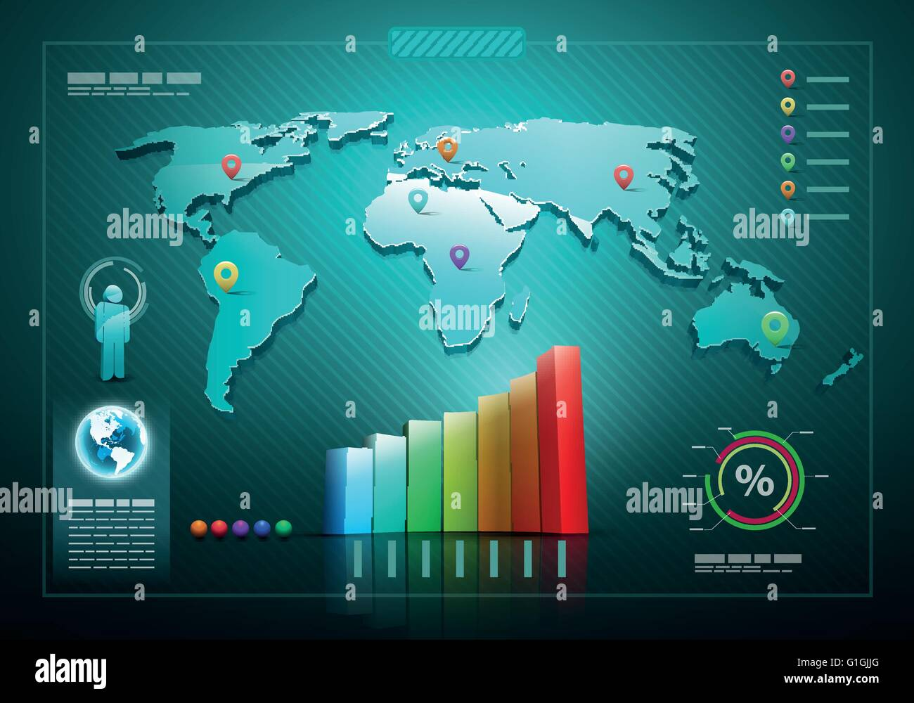 Infographics set and information graphics 3d vector world map infographics set and information graphics 3d vector world map illustration and infographics design template gumiabroncs Gallery