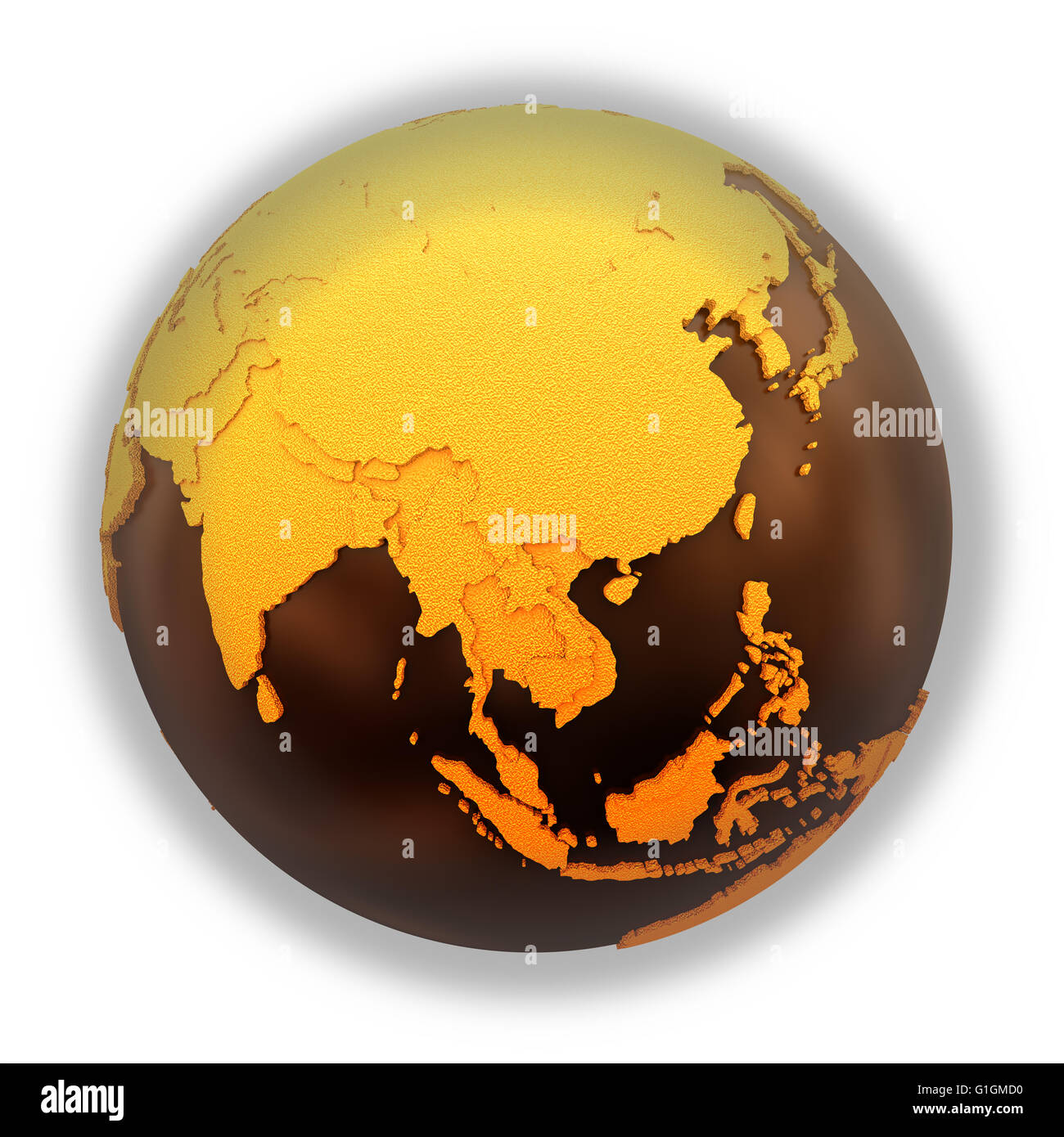 Southeast Asia on chocolate model of planet Earth. Sweet crusty ...