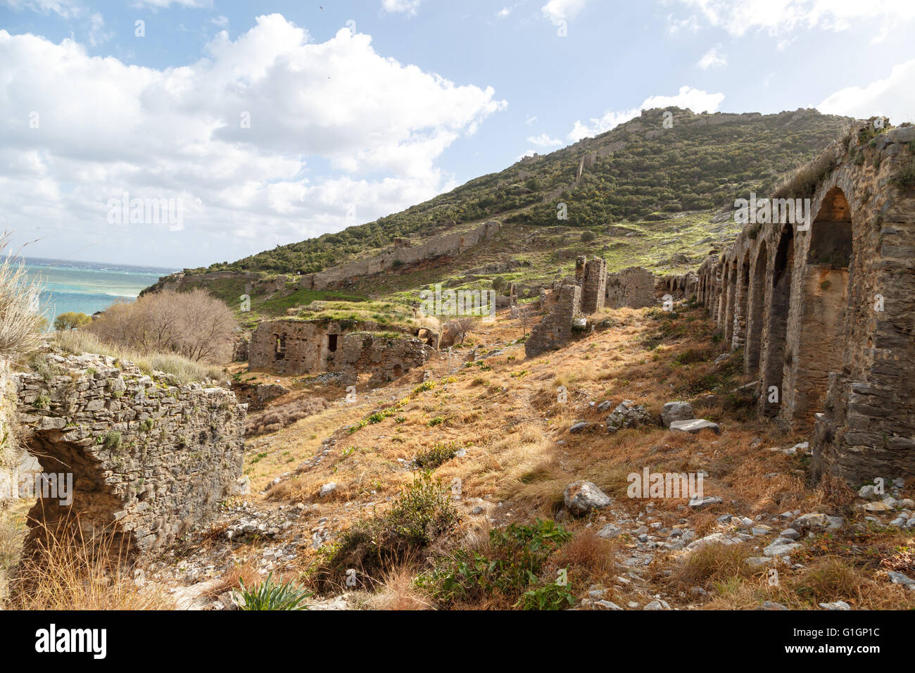 View of historical old area in Anemurium ancient city in ...