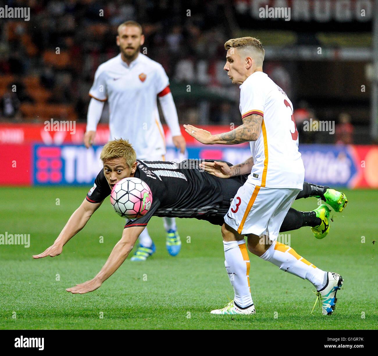 Milan Italy 14 may 2016 Keisuke Honda left and Lucas Digne