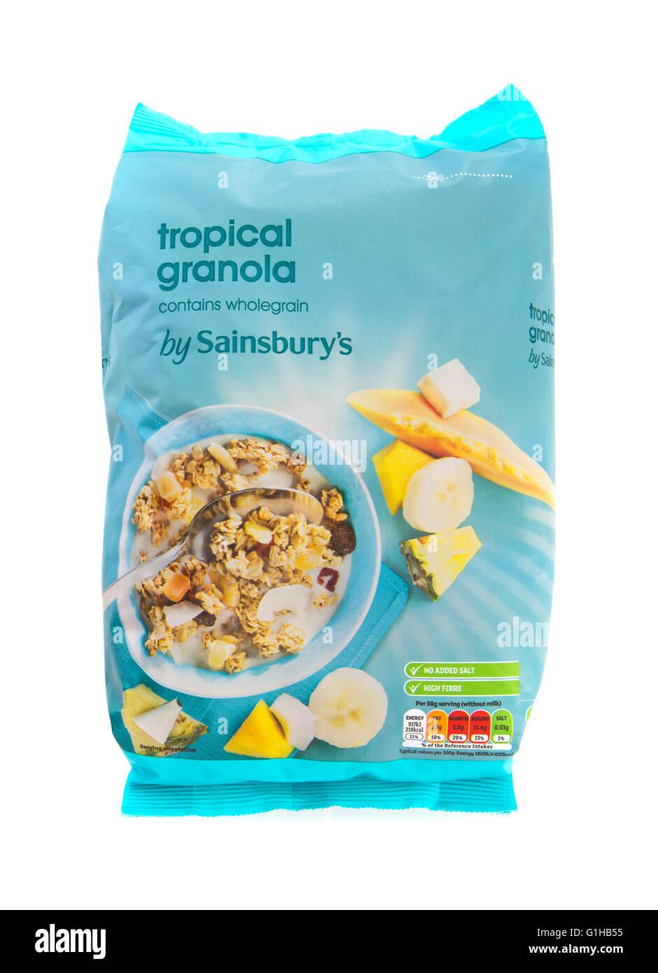 White apron sainsburys - Sainsburys Tropical Granola On A White Background Stock Image