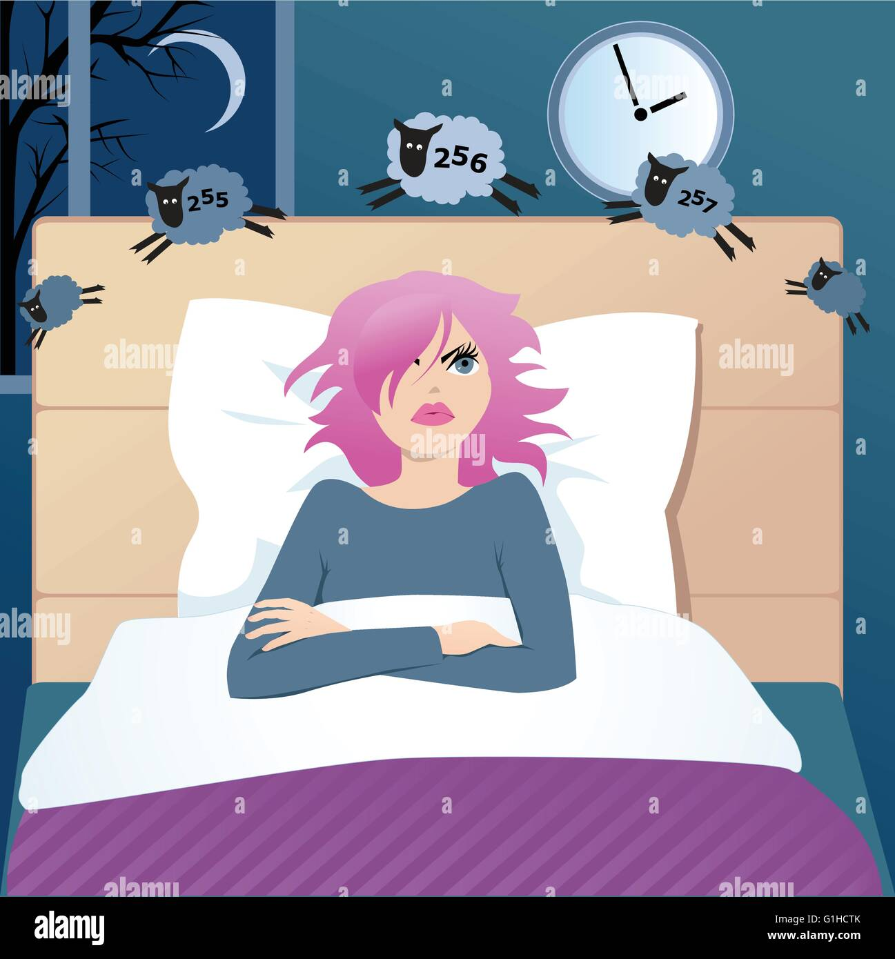 Cute Funny Cartoon Girl With Insomnia Lying In A Bed Late At Night,  Counting Sheep, Trying To Fall Asleep