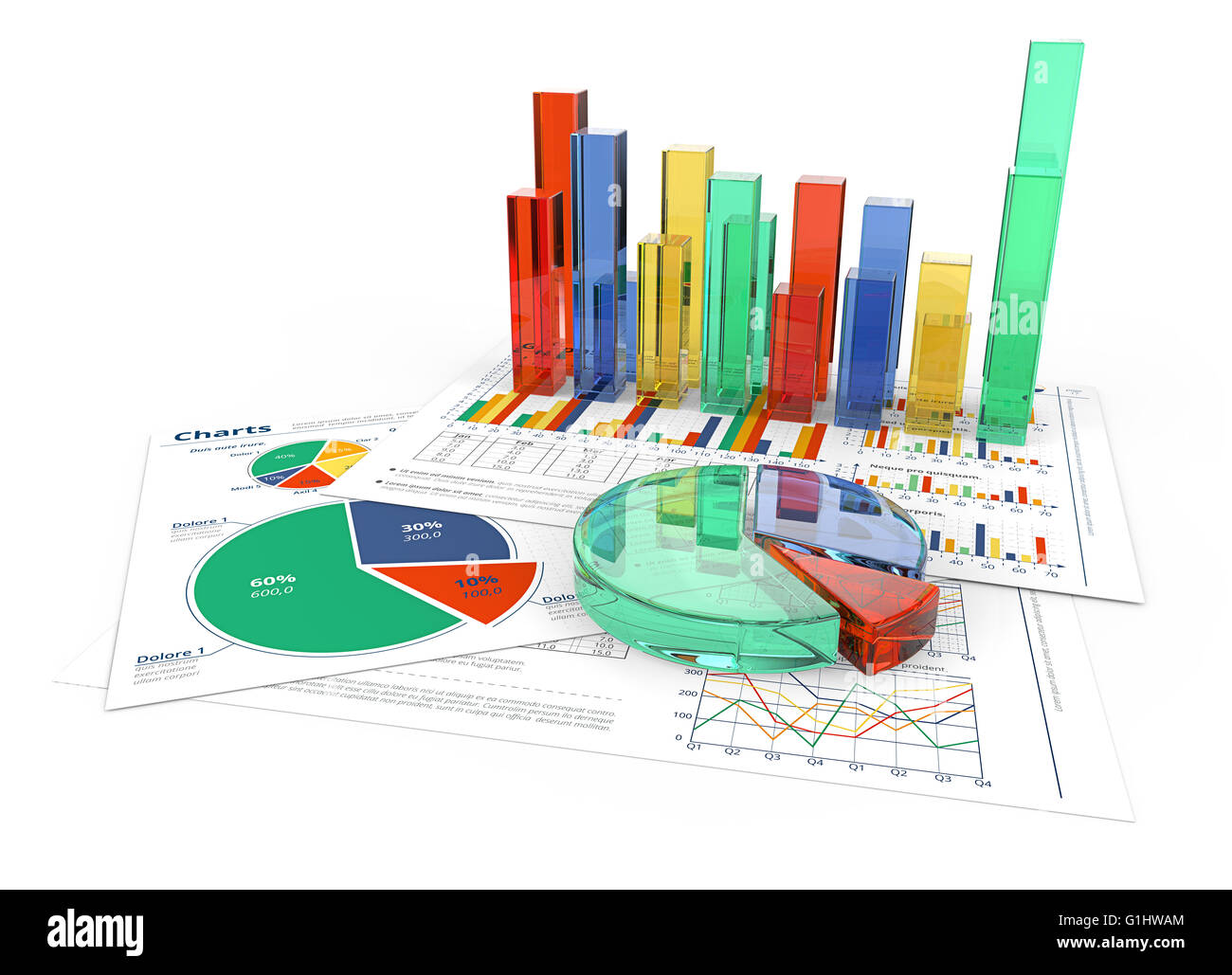 Financial documents with colorful 3d graphs and pie charts of financial documents with colorful 3d graphs and pie charts of glass nvjuhfo Image collections
