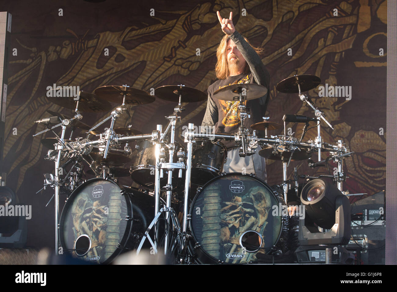 Somerset, Wisconsin, USA. 14th May, 2016. Drummer CHRIS ADLER of ... for Lamb Of God Live 2016  53kxo