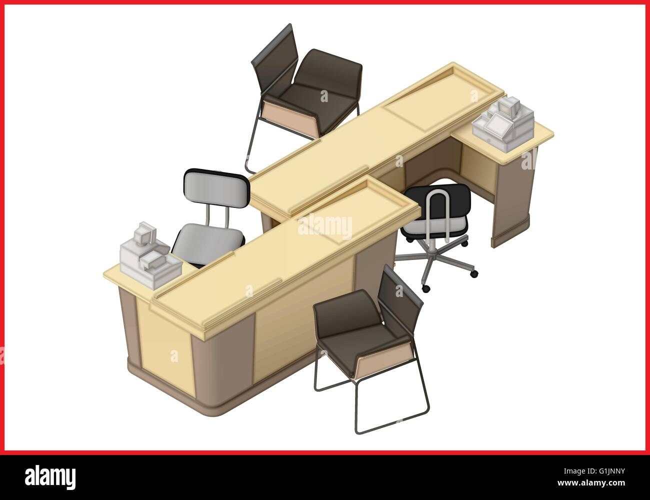 isometric office furniture vector collection. Office Furniture Workspace Isometric Flat Vector Collection T