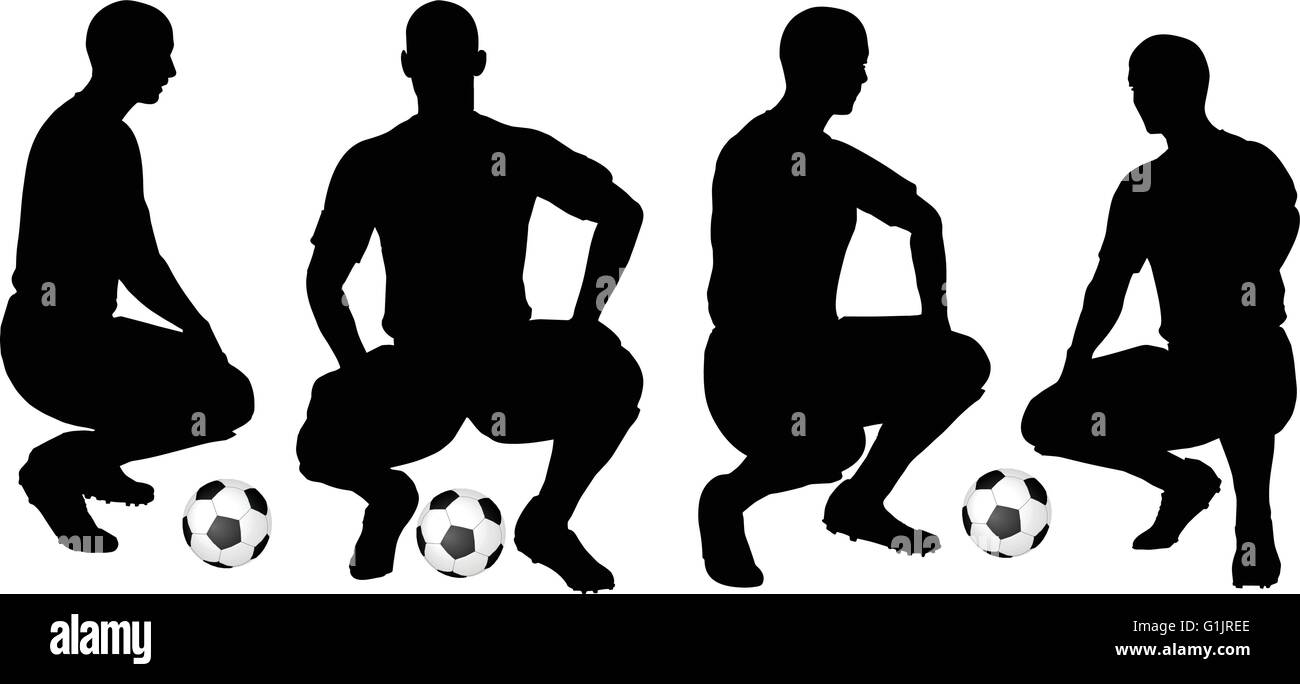 isolated poses of soccer players silhouettes in sitting position