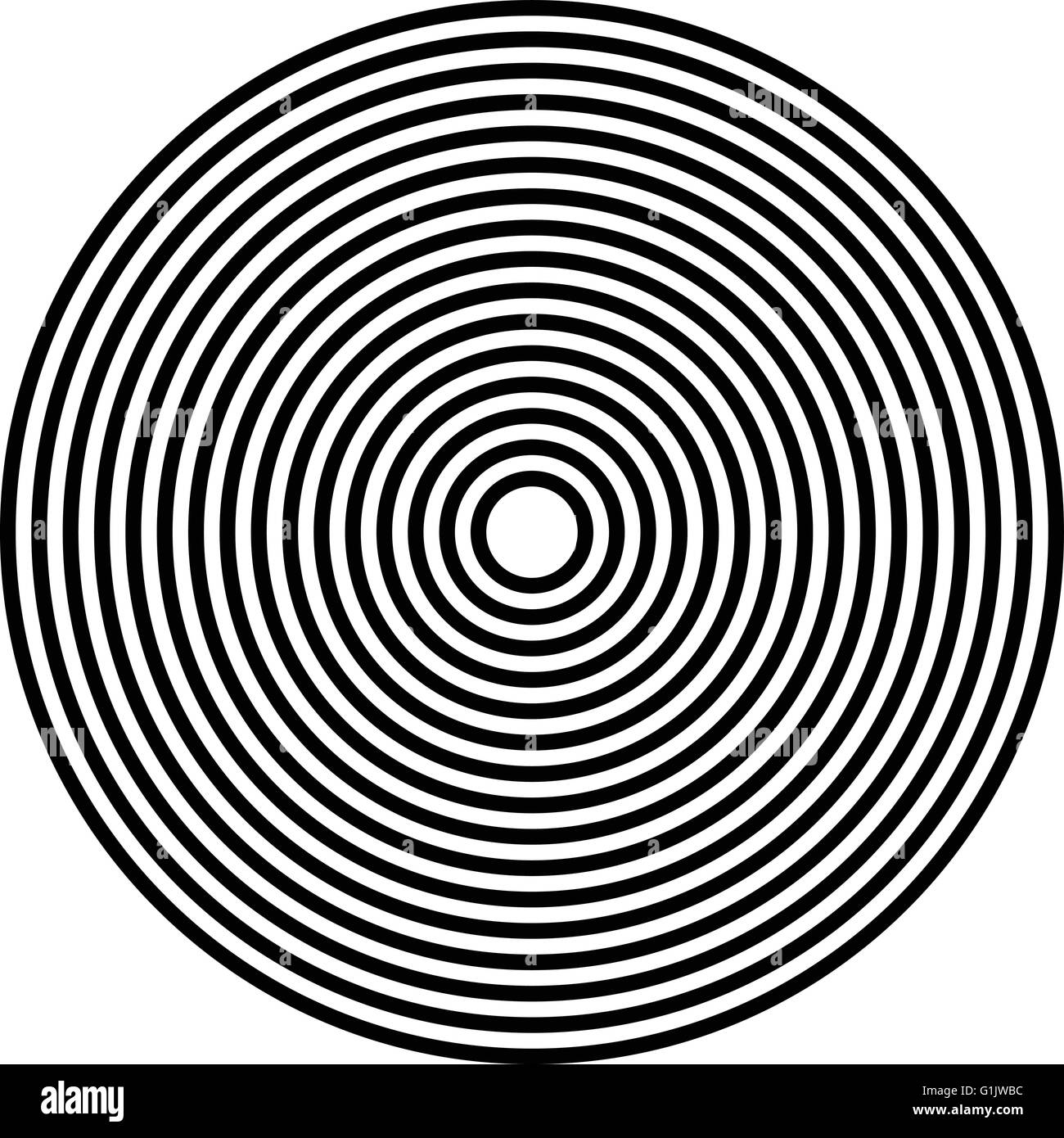 Simple concentric, radiating circle graphics isolated on white ...