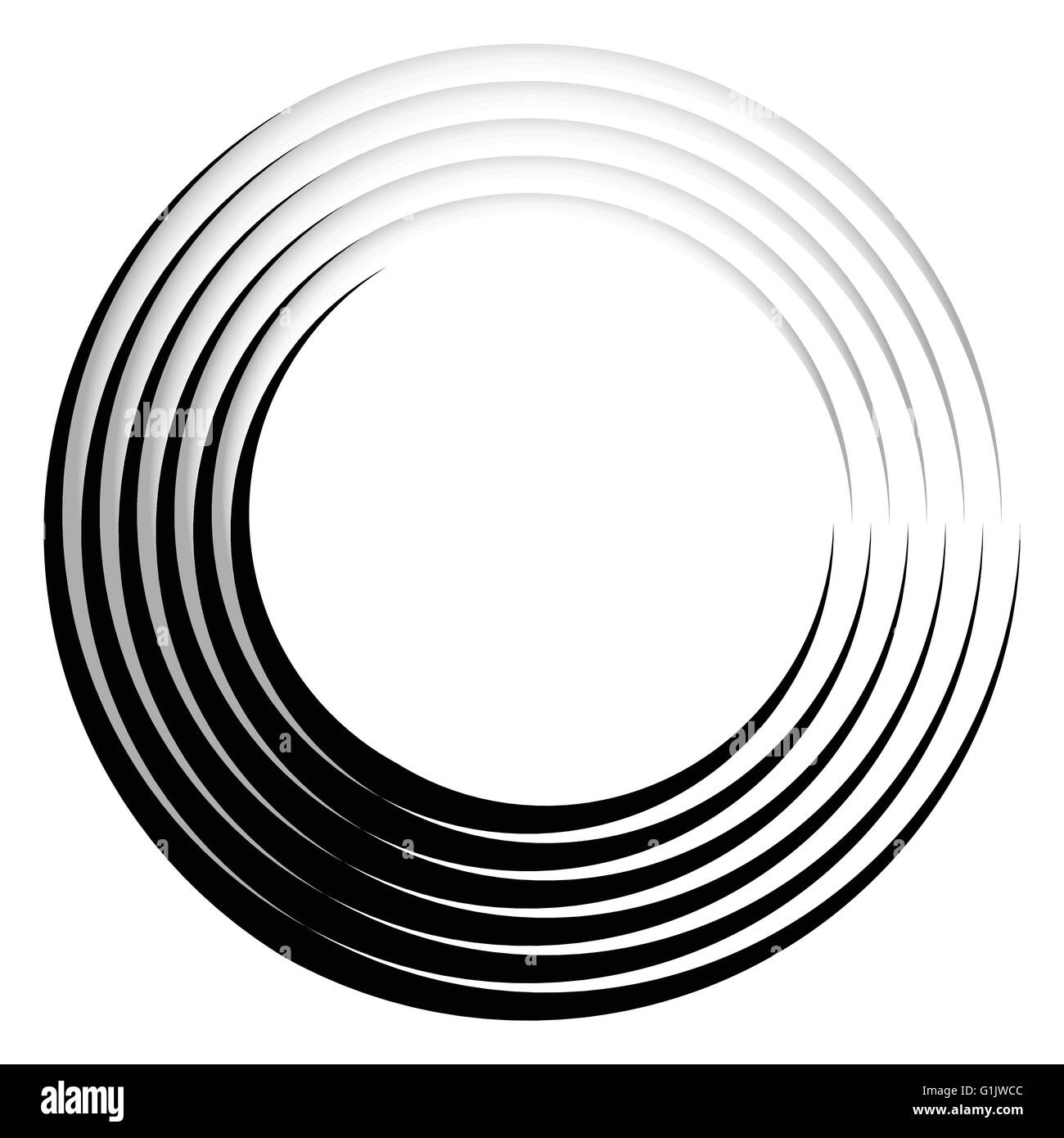 Concentric, radiating circle graphics isolated on white Stock ...