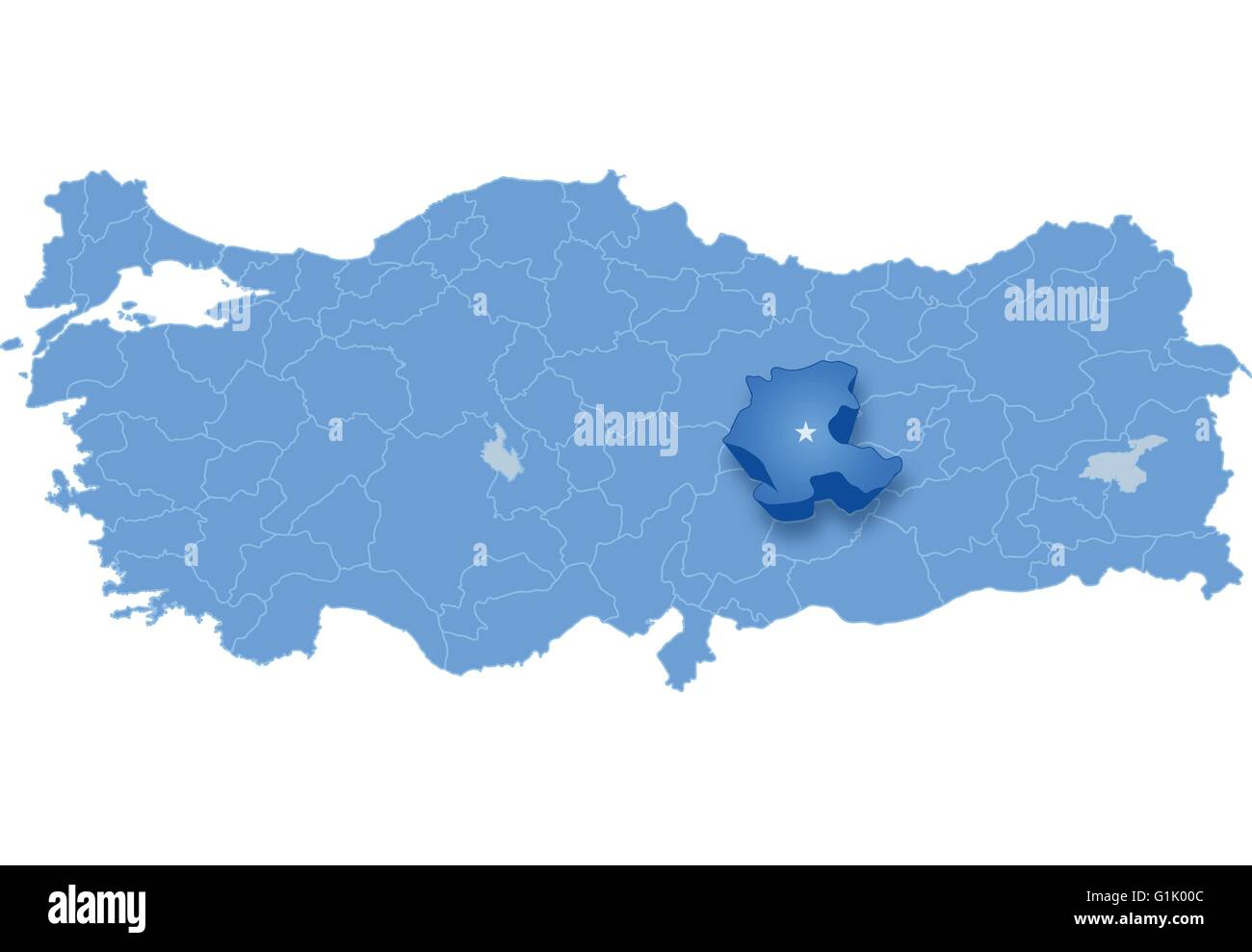 Map of Turkey where Malatya province is pulled out isolated on