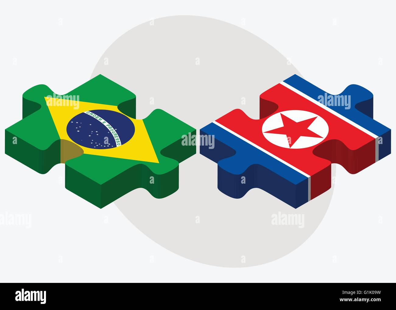 Brazil And KoreaNorth Flags In Puzzle Isolated On White - north flags