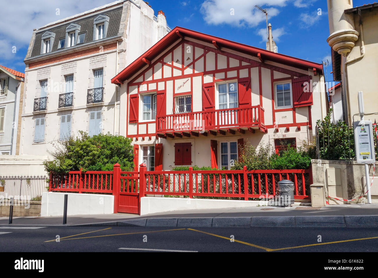 typical basque architecture red house biarritz aquitaine french stock photo 104298714 alamy. Black Bedroom Furniture Sets. Home Design Ideas