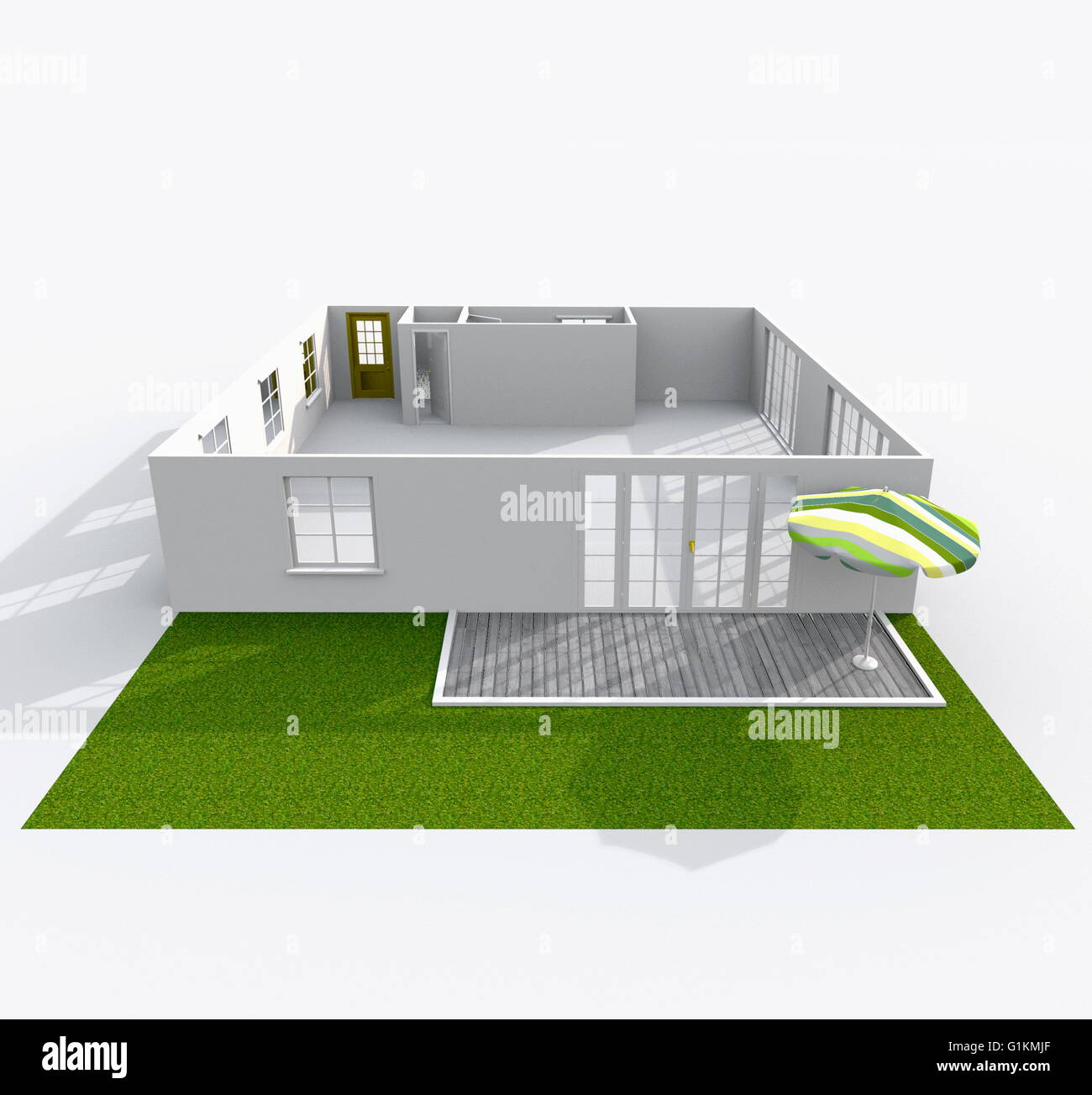 Empty Apartment Bathroom 3d interior rendering of empty paper model home apartment with