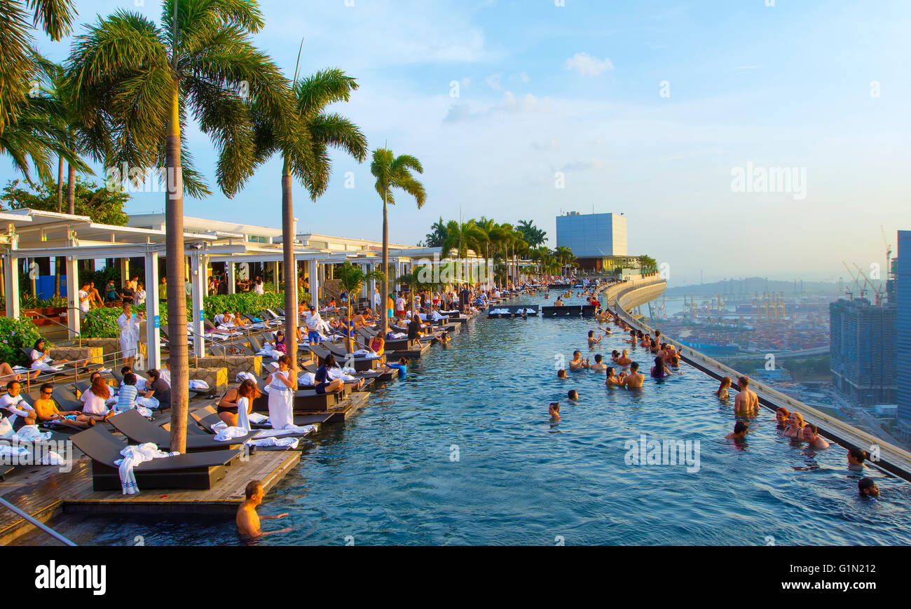 Swimming Pool At The Marina Bay Sands Skypark Marina Bay Singapore Stock Photo Royalty Free