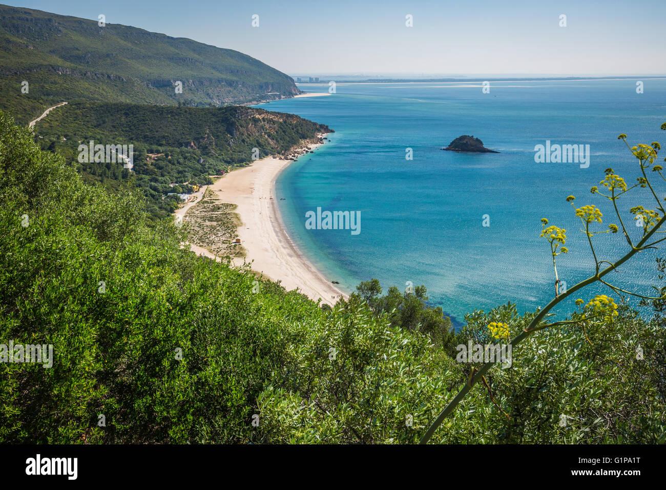 View of the beautiful coastal landscapes of the Arrabida region ...