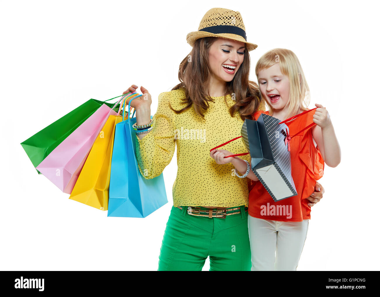 Family Shopping Bag Isolated On Stock Photos & Family Shopping Bag ...