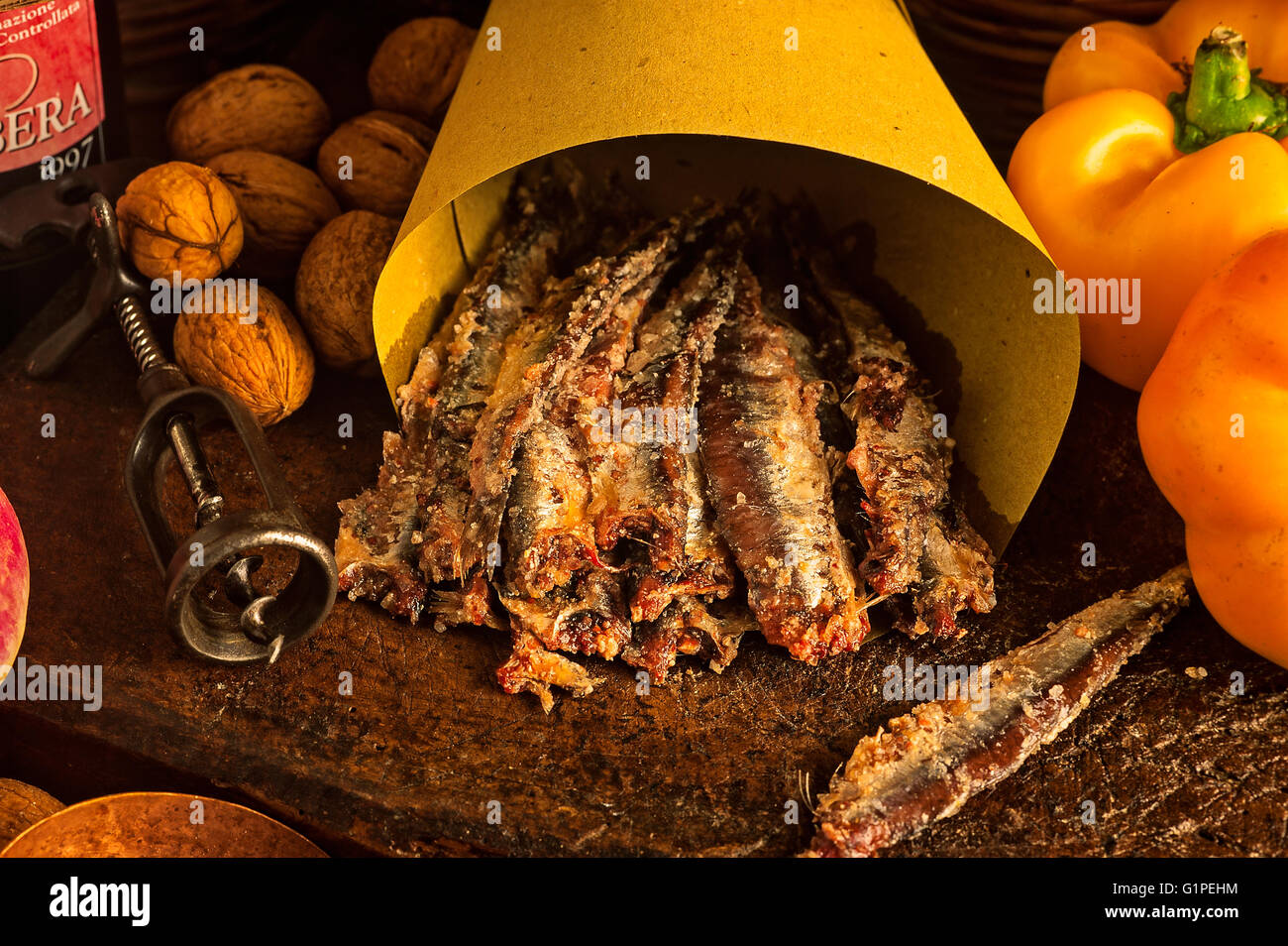 Red anchovies of Spain - ingredient for Bagna Caôda Piemontese Stock ...