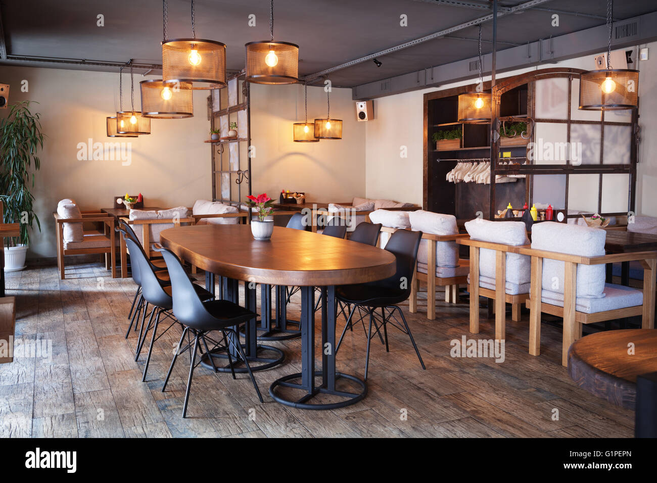 Modern european cafe interior in downtown Stock Photo, Royalty ...