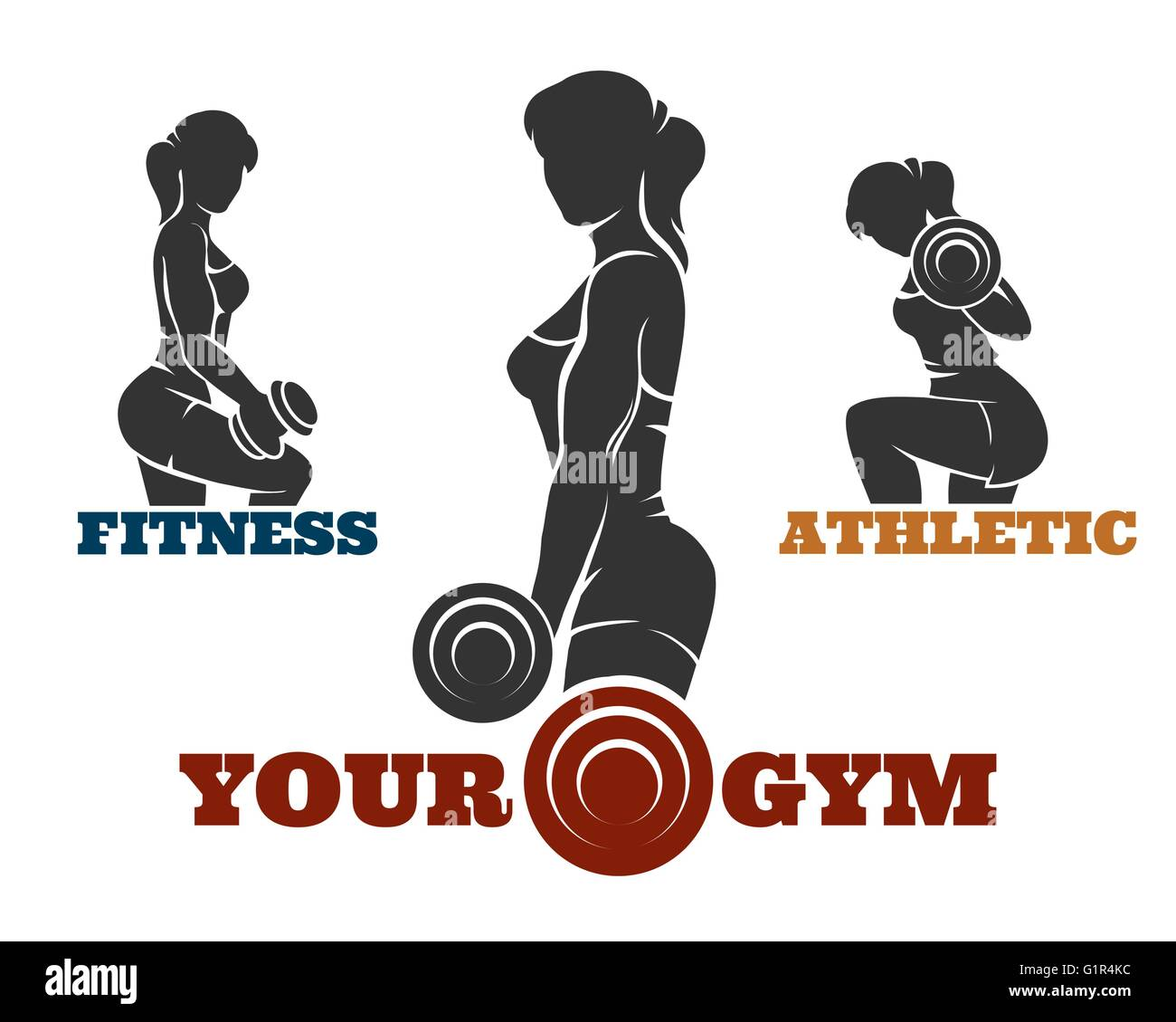 Fitness and gym logo set. Athletic women silhouettes. Fitness club Stock Vector Art