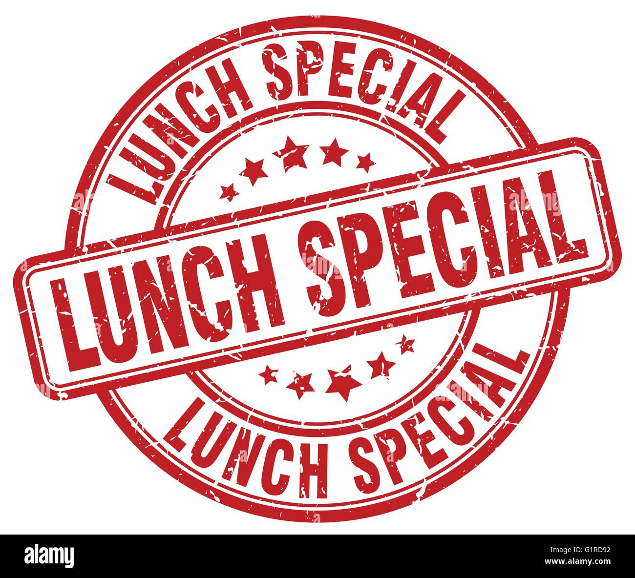Lunch special red grunge round vintage rubber stamp stock for Lunch specials