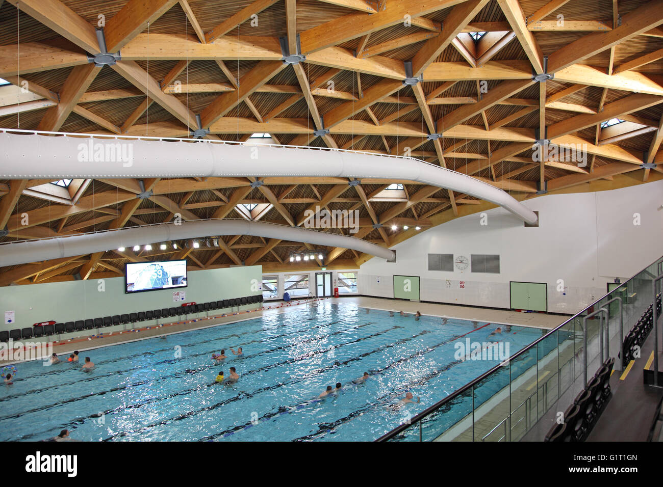 Interior Of The Swimming Pool Hall At The Pods Leisure Centre Stock Photo Royalty Free Image