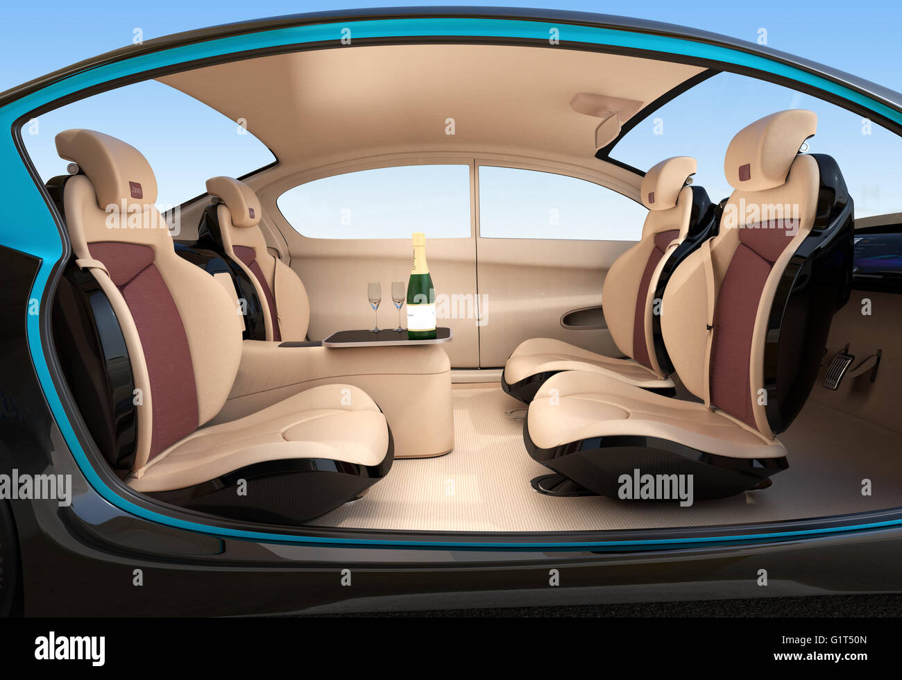 autonomous car interior concept luxury interior serve cool drink stock photo 104407653 alamy. Black Bedroom Furniture Sets. Home Design Ideas