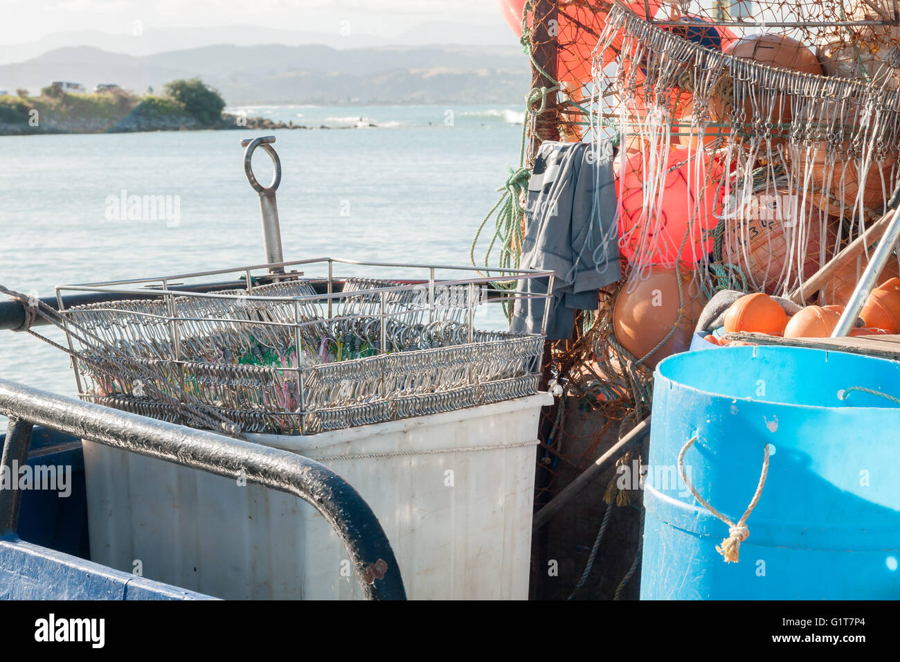 Basket of hooks and lures on a long line fishing trawler for Long line fishing