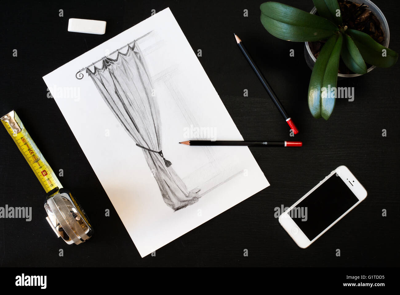 Curtain drawingsketch Flat lay of Interior designer and