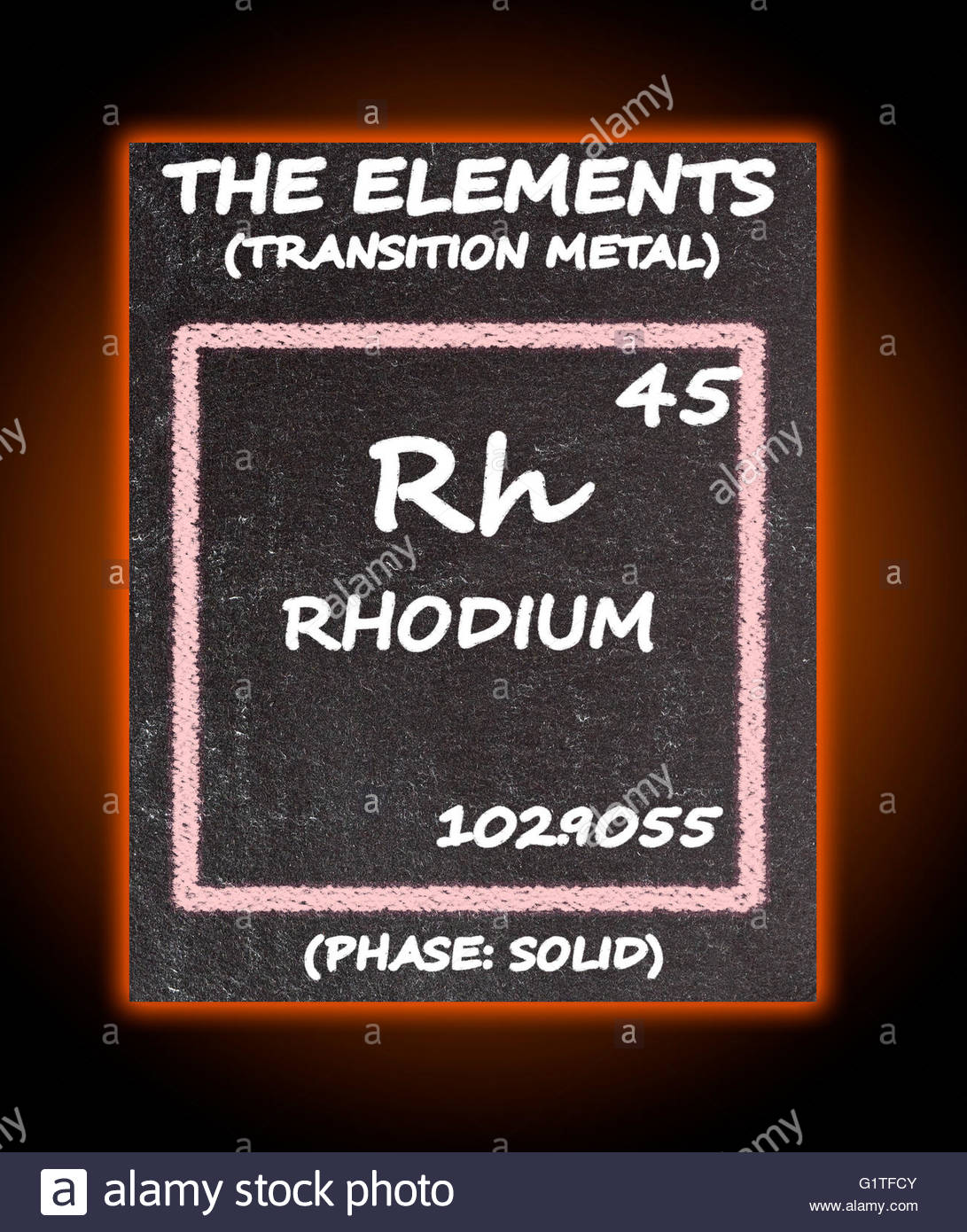 Rhodium details from the periodic table stock photo royalty rhodium details from the periodic table gamestrikefo Image collections