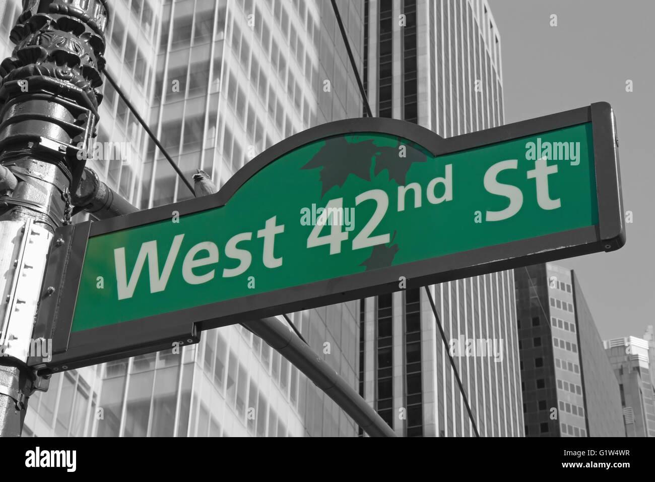 Street signs for West 42nd street in Manhattan (New York ...