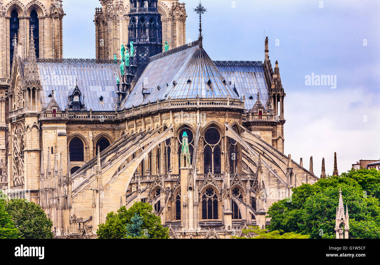 Flying Buttresses Spires Towers Overcast Skies Notre Dame Cathedral Paris France Built Between