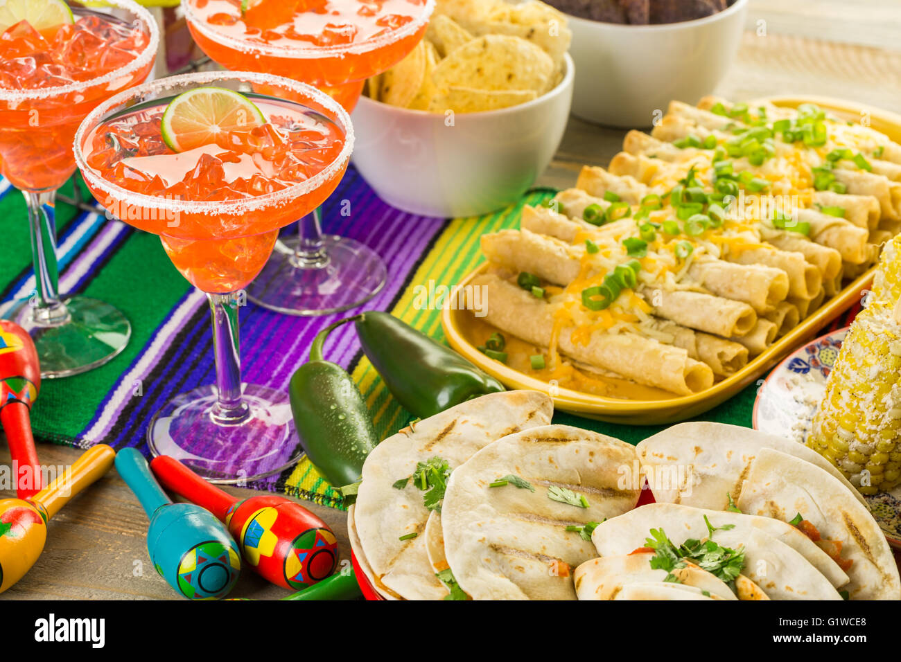 Fiesta Party Buffet Table With Traditional Mexican Food