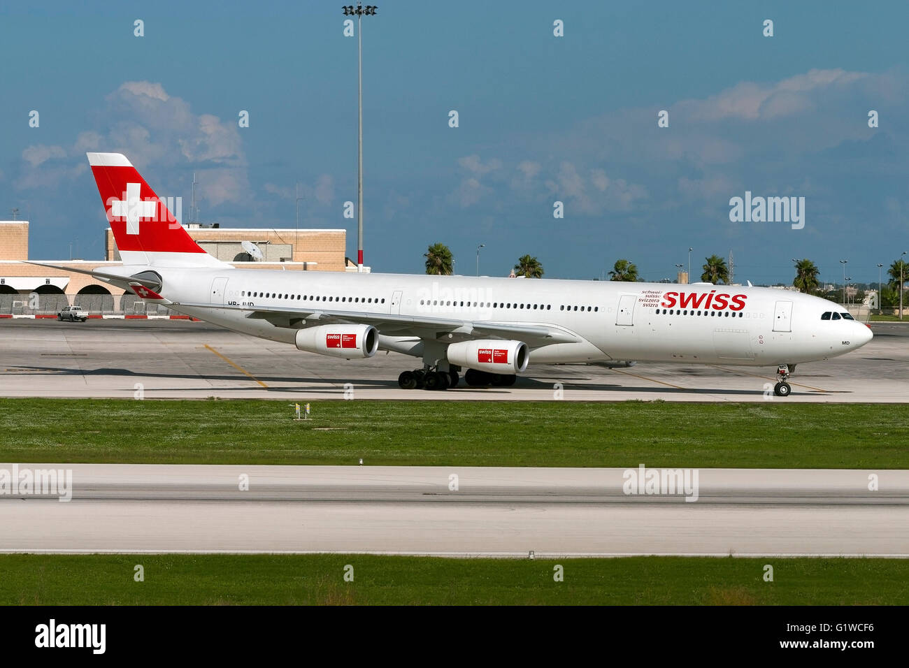 Airbus a340 313 swiss international air lines aviation photo - Stock Photo Swiss International Air Lines Airbus A340 313 On Pilot Training Flights In Malta