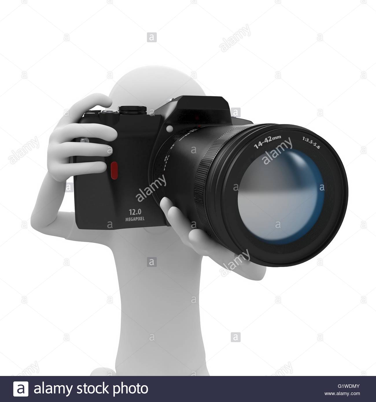 Camera 3d Dslr Camera 3d man with dslr camera isolated on white stock photo royalty white