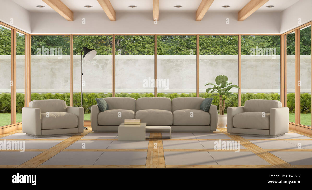 Modern Living room of a holiday villa with large window and garden
