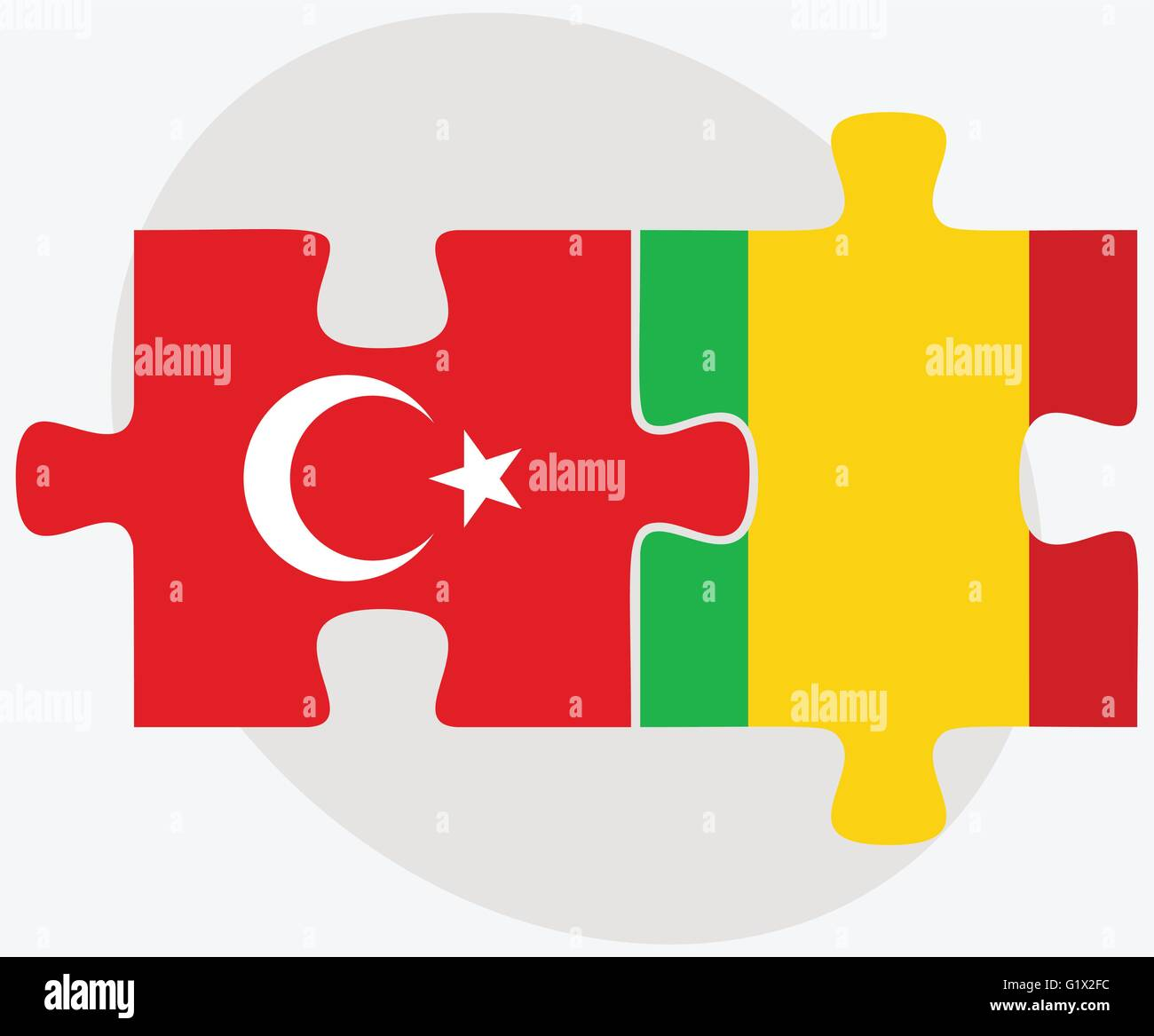 Turkey And Mali Flags In Puzzle Isolated On White Background Stock - Mali flags