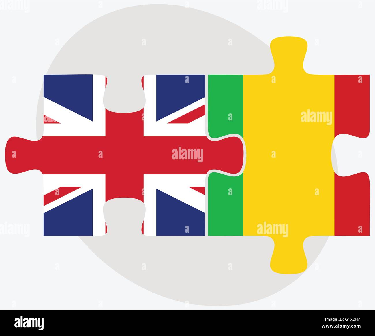 United Kingdom And Mali Flags In Puzzle Isolated On White - Mali flags