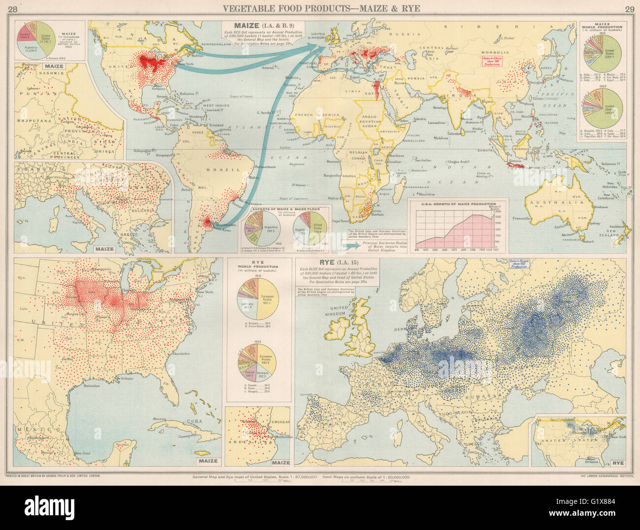 World food production maize rye united states europe 1925 food production maize rye united states europe 1925 vintage map sciox Image collections