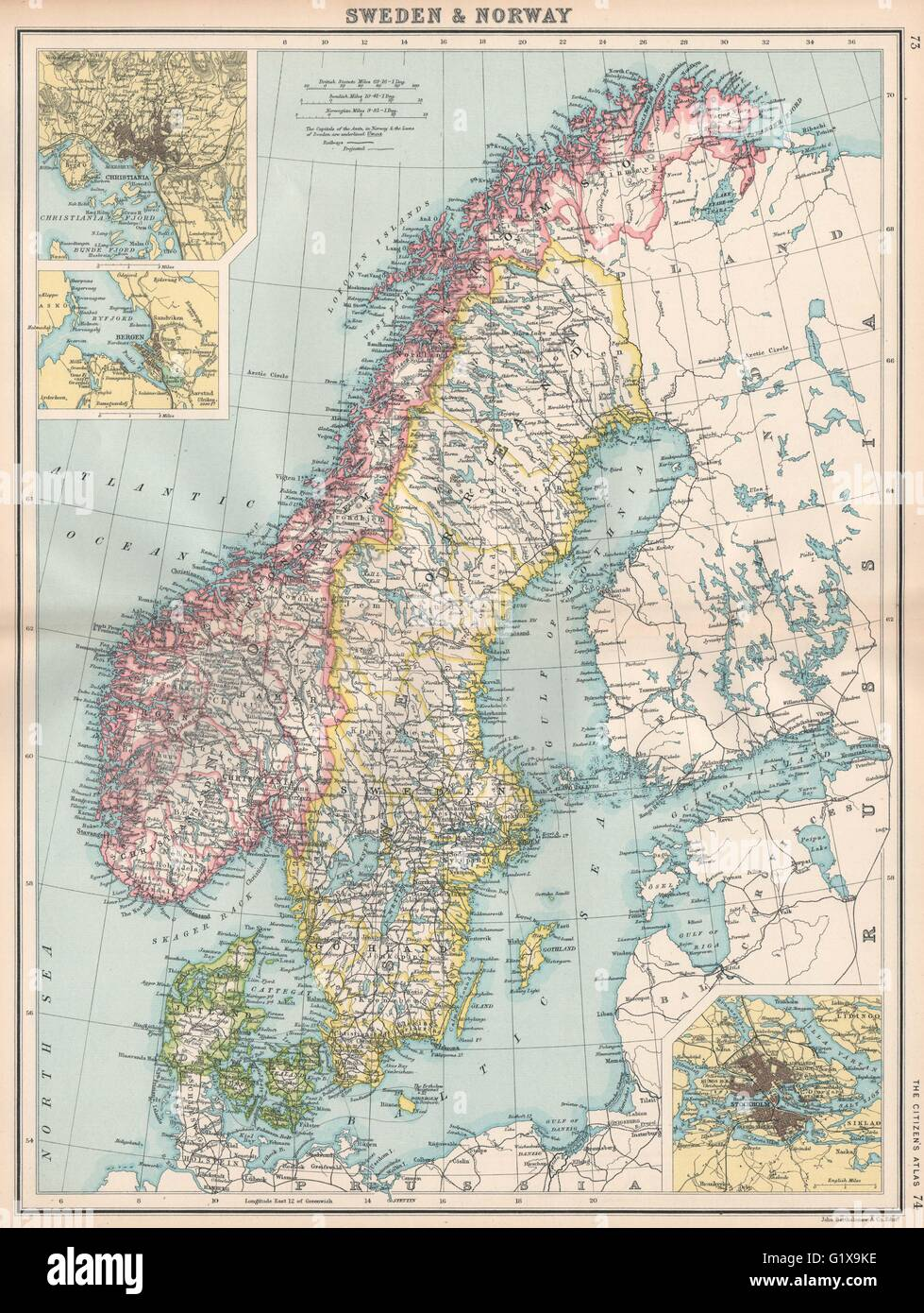 SCANDINAVIA Sweden Norway Denmark Inset Christiania Oslo Stock - Sweden map search