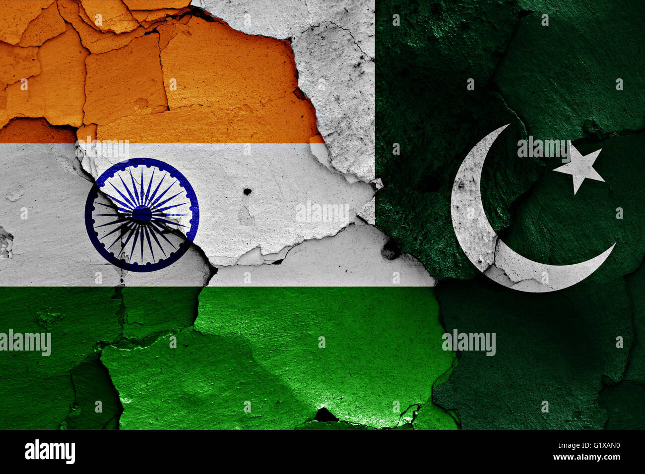 flags of India and Pakistan painted on cracked wall Stock Photo