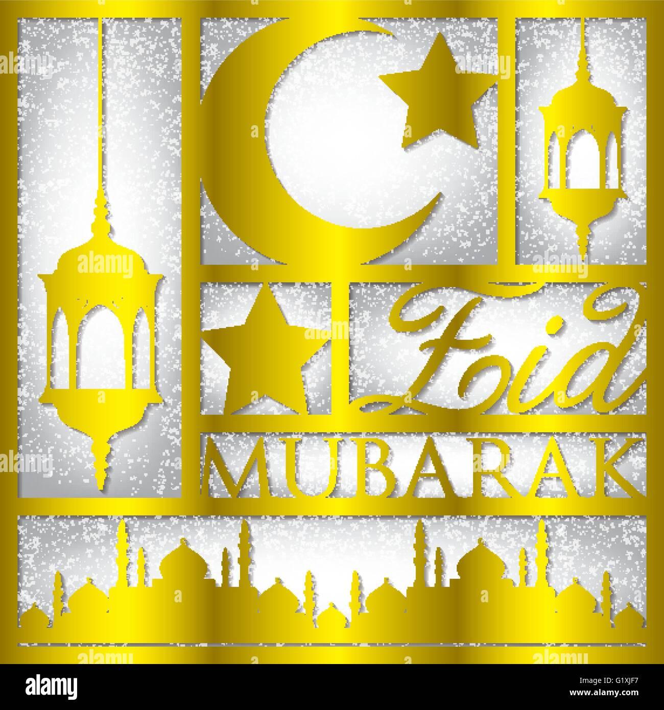 Paper cut out eid mubarak blessed eid card in vector format paper cut out eid mubarak blessed eid card in vector format kristyandbryce Image collections